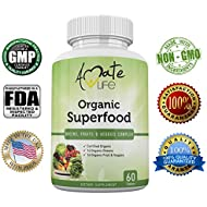 Organic Superfood Greens Fruits and Veggies Complex- Best Dietary Supplement with 14 Vegetables and 14 Fruits- Rich in Antioxidants- All-natural Organic Ingredients- Non-GMO 60 tablets