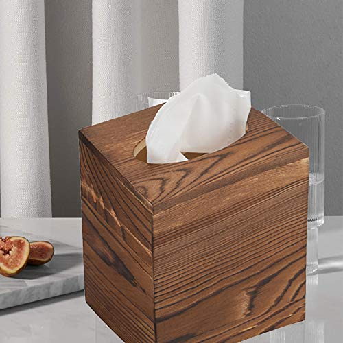 JOYOHOME Wooden Tissue Box Cover with Slide-Out Bottom Panel Square Farmhouse Tissue Box Holders Decorative Facial tissues Cube Box Holder for Bathroom, Bedroom, Dinner Table, Office. (Pine)