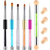 TOODOO 5 Pieces Acrylic Nail Brush UV Gel Nail Brush Pen Set and 1 Piece Double-ended Nail Gradient Shading Pen with 4 Sponge Head