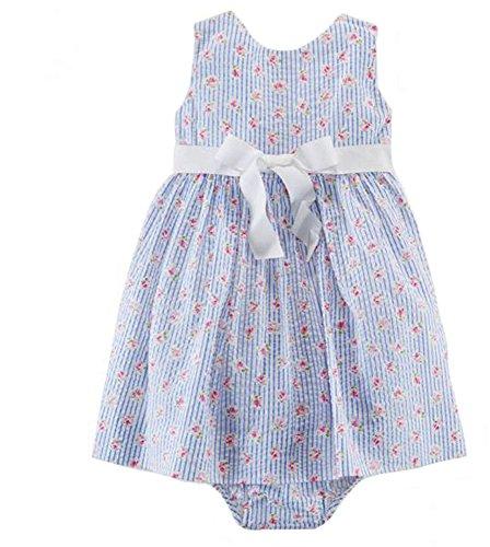 Ralph Lauren Polo Baby Girls Seersucker Floral Dress & Bloomer (9 Months)