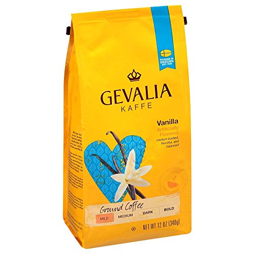 Gevalia Vanilla Flavored Coffee, Medium Roast, Ground, 12 Ounce Bag (Pack of 6)