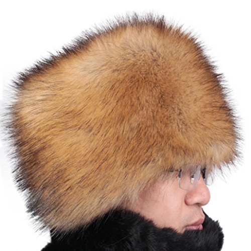 Voberry® Faux Fur Cossak Russian Style Hat Winter Hat for Men Women (Gold) - Russian Hat Ushanka Women