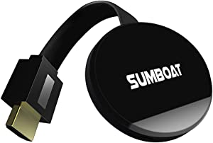 SUMBOAT WiFi Display Dongle 1080P Mini Receiver Wireless HDMI Dongle Sharing HD Video from iOS Android Laptops Support Airplay Chromecast Miracast