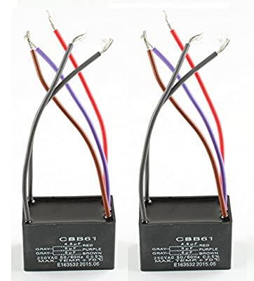 Podoy ( 2 Pack ) 5 Wire Ceiling Fan Capacitor for New Tech CBB61 4.5uf+5uf+6uf 250VAC