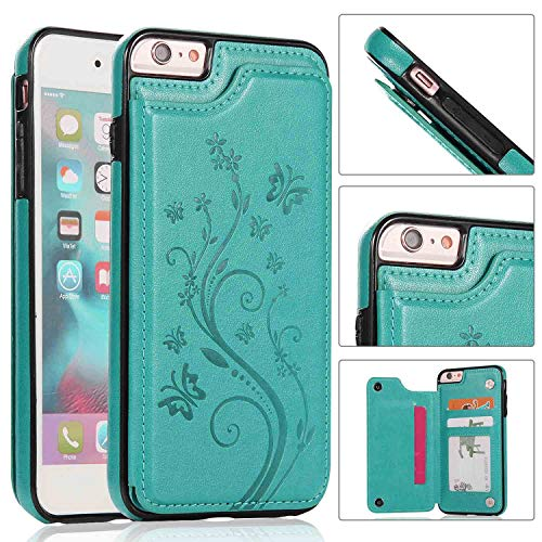 iPhone 6S Wallet Case,iPhone 6 Slim Fit Wallet Case for Women/Men,Aprilday Premium Leather Purse Case [Butterfly Flower] Durable Shockproof Cover with Wallet&Card Holder&Kickstand -4.7in Green