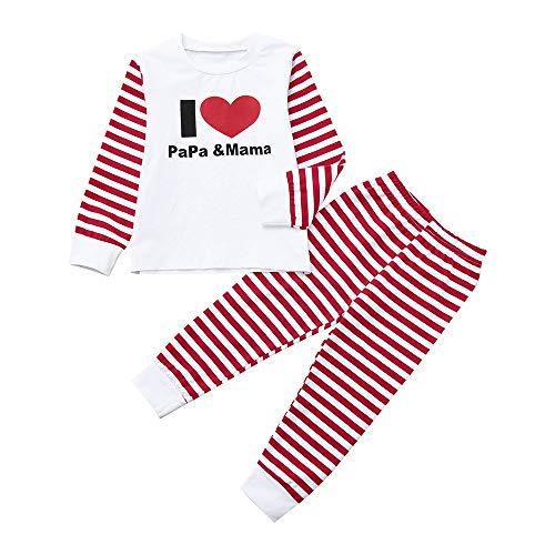 Littay Infant Kids Baby Boy Girl Letter T Shirt Tops+Striped Pants 2PCS Clothes Set