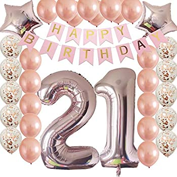Cheeringup 40inc 21st Birthday Decorations Party Supplies Set Rose Gold Confetti Latex Number Balloons Happy Banner As Gift For Her Girls