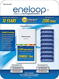 Panasonic K-KJ55MC84CZ eneloop Power Pack; 8AA, 4AAA, and Advanced Battery 3 Hour Quick Charger (battery color may vary)