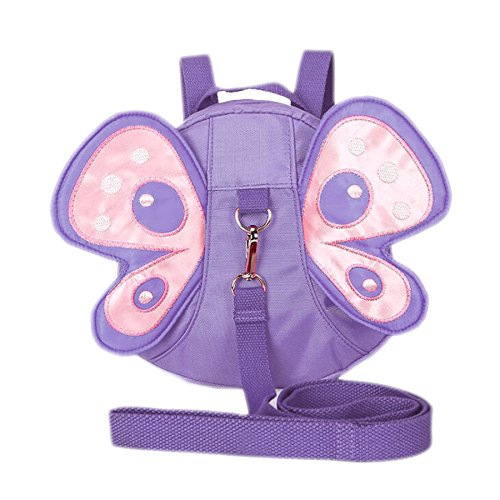 EPLAZA Toddler Walking Safety Dolphin Belt Harness Bag Fish Backpack with Leash + 1 Anti Lost Wrist Link Strap (purple butterfly)