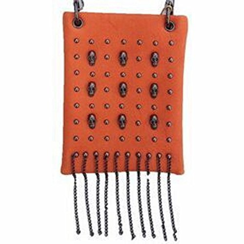 The Chic Bag - Biker Babe 4-way Bag - Steampunk Skulls, Studs and Chains (Orange; 6x8x1in) - BUY 2 GET A 3rd BAG (Steampunk Babes)
