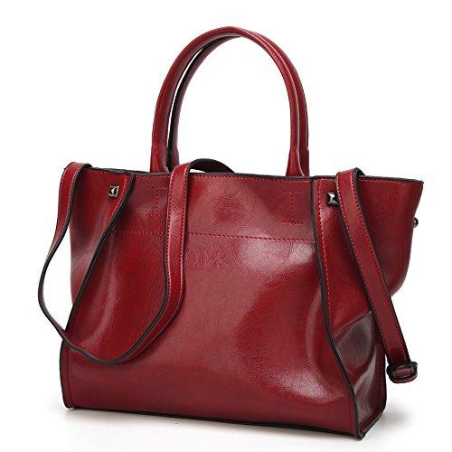Obosoyo Women Shoulder Tote Satchel Bag Lady Messenger Purse Top Handle Hobo Handbags Wine red