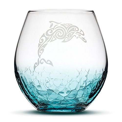 Crackle Teal Stemless Wine Glass - Hand Etched Tribal Dolphin Design - Sand Carved by Integrity Bottles