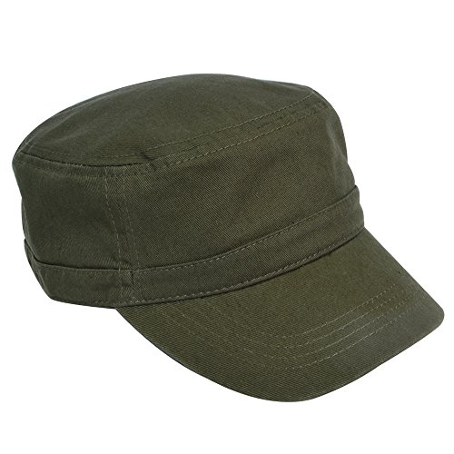 KC Caps Unisex Washed Cotton Twill Adjustable Army Military Cadet Cap Olive Army Radar