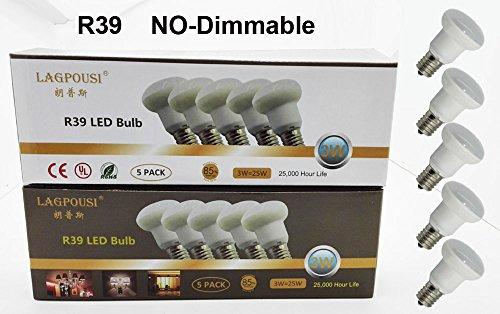 LAGPOUSI 5PACK R39 E17(Base) Replacement Light Bulb Motion Lamp 30 Watt Reflector Type 300lm 3W Small LED Bulbs daylight White 5500K,CRI 80. (5, Cool white)