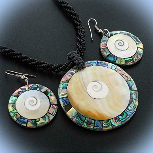(Mother Of Pearl Eye Paua Abalone Black Beaded Unique Chic Crystal Rhinestone Elegant Jewelry Necklace & Earring)