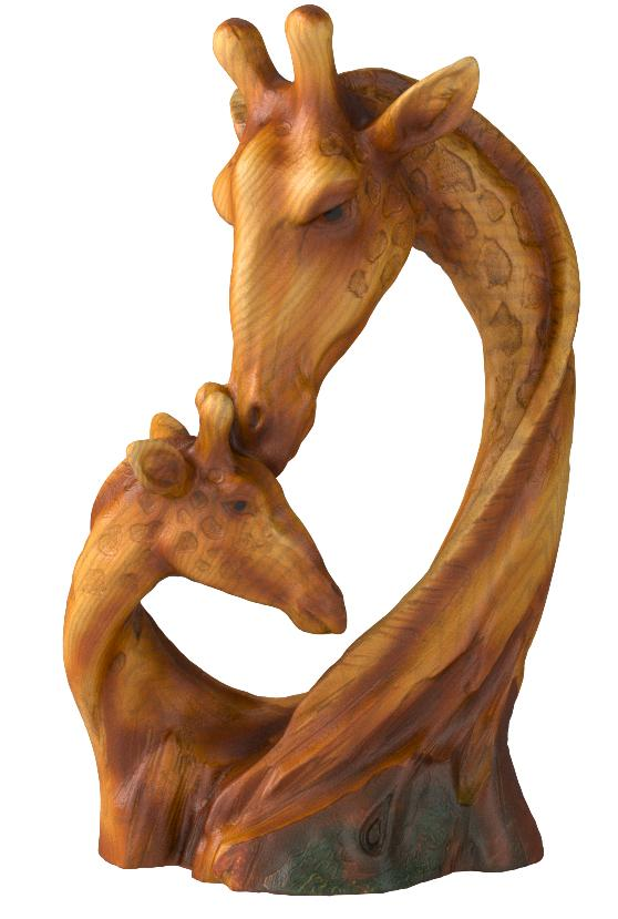 BALINESE ART MOTHER AND BABY GIRAFFE SCULPTURE WOOD CARVED
