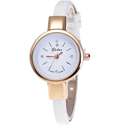 Reloj de mujer con correa de cuero, QinMM pulsera Analógico Cuarzo retro Souvenir (Blanco