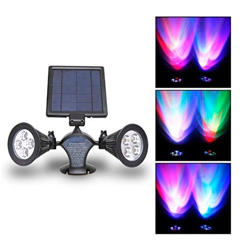 Solar Powered LED Double Spotlights, KingSo 6LED Outdoor Security Spotlights 400Lumen Light Sensor for Garden Farm Shed Garage Square Mall Lawn Pool - - Square Mall Time