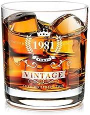 1981 40:e födelsedagspresent för män, handgjord gammaldags whiskyglas behållare, whiskyälskare present till pappa, mamma, make, vänner, roliga vintage presenter för fars dag