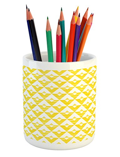 Acrylic Triangle Shape - Lunarable Yellow and White Pencil Pen Holder, Acrylic Triangles and Design of V-Shape Horizontal Zigzag Lines, Printed Ceramic Pencil Pen Holder for Desk Office Accessory, Yellow and White