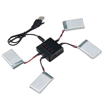 Toifucos RC Drone Batería 4pcs 3.7V 800MAH Batteries de Litio y 4 ...