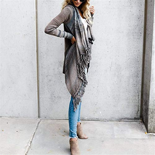 Manteau Femme Poncho Taille Hiver Chic Chale Fanessy Gris Automne Casual Trenche Rayures Cardigan Grande Gris Parka Coat Cape lgant Cape gEBqnd