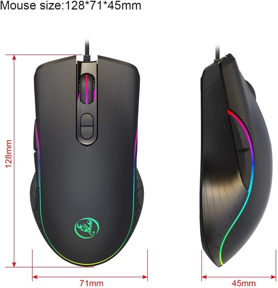 1.5m LIYUNSHU A867 USB 6400DPI Four-Speed Adjustable RGB Illuminate Wired E-Sport Gaming Mouse Length