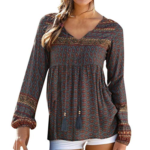 NEARTIME Women's Casual Shirts New Boho Floral Print V Neck Long Sleeve Blouse Tops Loose Fold T-Shirts