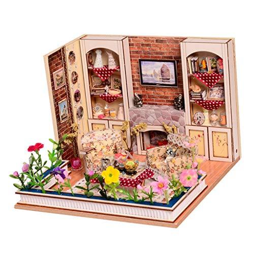 NATFUR Dollhouse Miniature DIY Kit Toy w/Furniture LED Handcraft Living Room ()