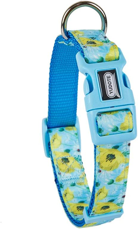 YUDOTE 8 Patterns Designer Dog Collars Floral Scent Adjustable Collars for Small Medium Large Dogs Puppies
