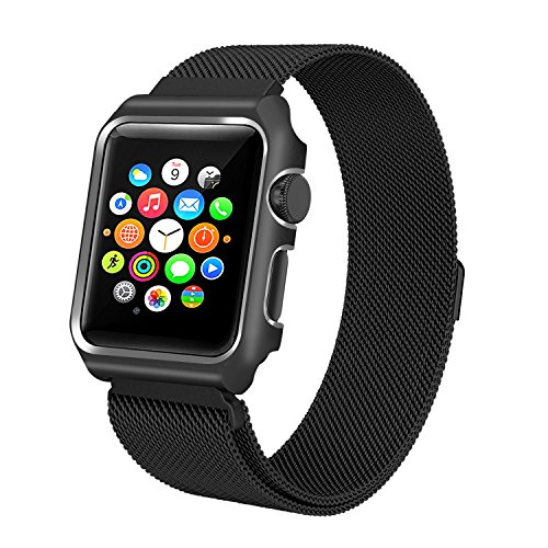 ALNBO for Apple Watch Band Replacement Wrist Band with Metal Protective Case for Apple Watch Series 3 Series 2 Series 1 Sport&Edition