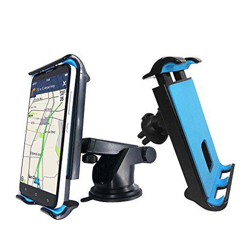 NOOX Car Mount Dashboard & Air Vent Cell Phone Holder 2 in 1 GPS Phone Mount for iPhone 7s 6s Plus 6s 5s 5c Samsung Galaxy S8 Edge S7 S6 Note 5 & Mini Tablets (2 in 1 Car Mount)