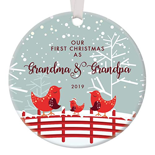 Our First Christmas as Grandma & Grandpa 2019 Ornament New Grandparents Cute Red Bird Family Nana Pop-Pop Newborn Grandchild Keepsake Present 3