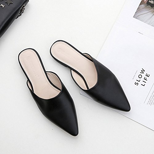 Flat On Backless Toe Slip Sandals Pointed Women's Mules Summer Black AvaCostume HUqYpw