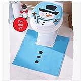 Lalang Blau Schneemann Weihnachtsdekoration WC Toillete Set Sitzbezug und Teppich & Gewebe Deckel Geschenk