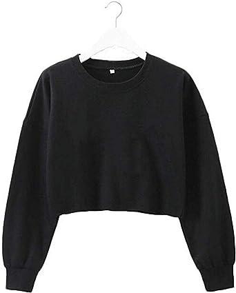 93b3f81385b1b TUSFTAY Women Long Sleeve Crewneck Crop Top Pullover Sweatershirt Blouse  Top (S, Black)