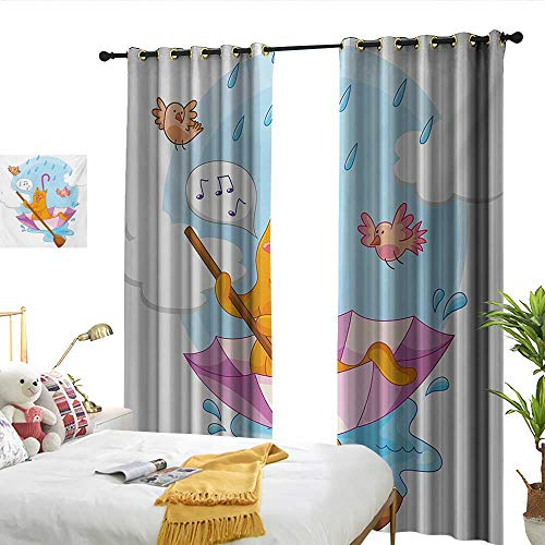 WinfreyDecor Kitten Simple Curtain Cute Cat Under The Umbrella Sail in The Clouds and Humor Cartoon Kids Nursery Theme Darkening and Thermal Insulating W84 x - Umbrella Agatha