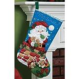 Bucilla 18-Inch Christmas Stocking Felt Applique Kit, 86280 Santa's Secret