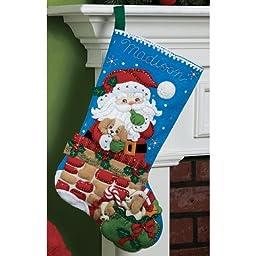 Bucilla 18-Inch Christmas Stocking Felt Applique Kit, 86280 Santa\'s Secret