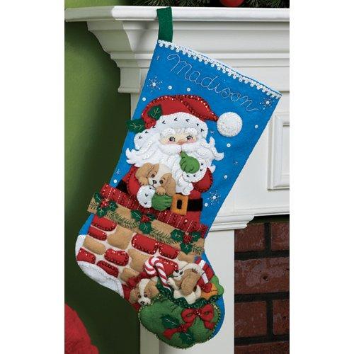 Bucilla 18-Inch Christmas Stocking Felt Applique Kit, 86280 Santa's Secret]()