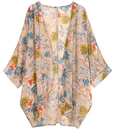 (OLRAIN Women's Floral Print Sheer Chiffon Loose Kimono Cardigan Capes (Medium, Khaki Floral))