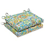 Cheap Pillow Perfect Outdoor Bronwood Caribbean Squared Corners Seat Cushion, Multicolored, Set of 2