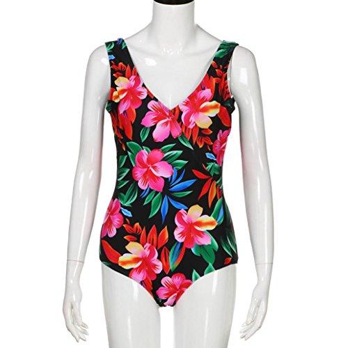 Floreale Costume da Bagno Donna Intero Witsaye Costumi da Bagno Donna Taglie Forti Estate Beachwear Monokini Casuale Spiaggia Bikini Intero Donna Costumi da Bagno Donna Fascia Nero