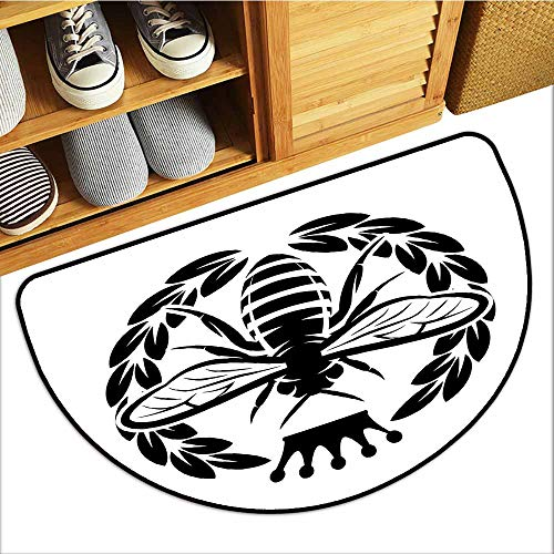 Commercial Door Mat, Queen Bee Decorative Rugs for Kitchen, Monochrome Wreath Insect and Crown Abstract Bee Silhouette Ruler of The Colony (Black White, H16 x D24 Semicircle) ()