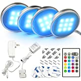 Bason RGB LED Under Cabinet Lighting Closet Puck Lights Color Changing Kitchen Shelf Decoration, 20 Colors, Dimmable Remote Control, 7.5 Watts, 4-Pack, UL Listed, 4P58862H