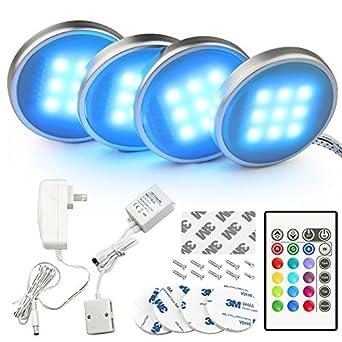 LED Kitchen Under Cabinet Lighting Kit For Cabinet Bookshelf Multicolor  Changing RGB LED Puck Lights With Remote LED Accent Mood Lighting