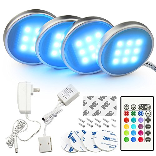 Bason RGB LED Under Cabinet Lighting Closet Puck Lights Color Changing Kitchen Shelf Decoration, 20 Colors, Dimmable Remote Control, 7.5 Watts, 4-Pack, UL Listed, 4P58862H by BASON LIGHTING