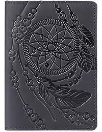 Leather Passport Holder - Passport Cover Case with Vintage Dreamcatcher Design (Black Vintage)