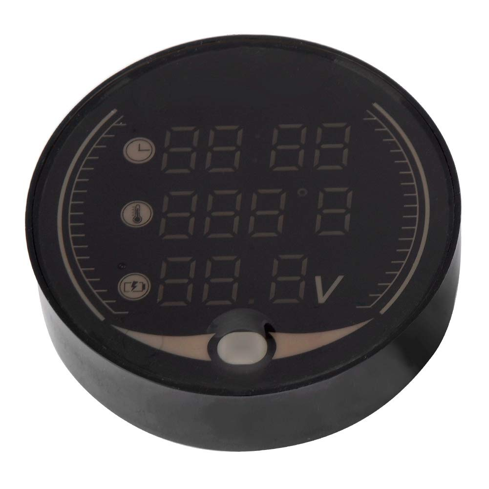 Qii lu 3-in-1 12V Motorcycle Electronic Digital Thermometer Voltmeter Time Clock Temperature Gauge