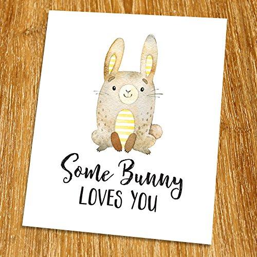 Some bunny loves you Print (Unframed), Baby Shower Gift, Nursery Wall Art, Children Art Print, Woodland set, Kid Room Decor, Playroom Wall Art, 8x10